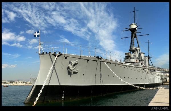 the battleship G. Averof at Trocadero bay today
