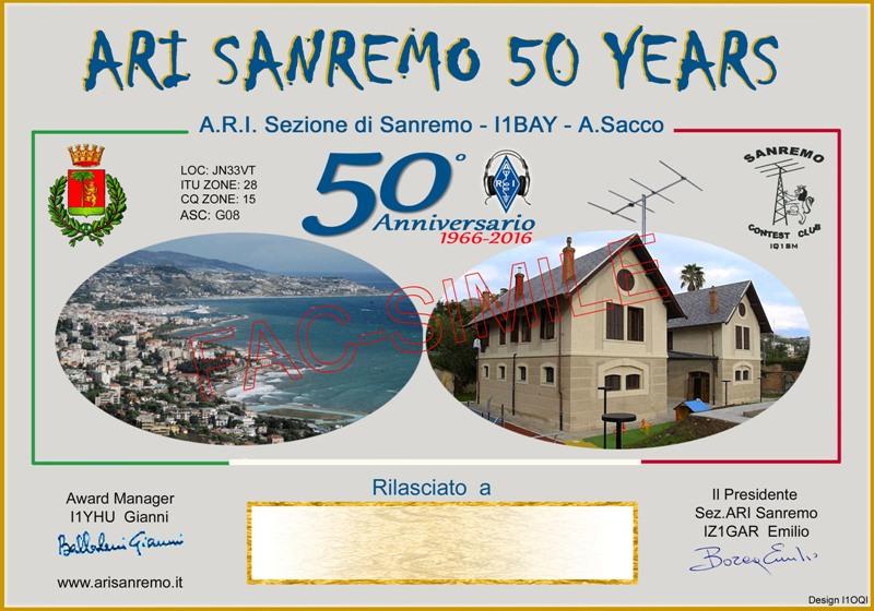 Diploma 50 anni Arisanremo
