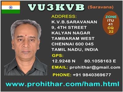 www.qrz.com, database, vu3kvb, tambaram, chennai, india, echolink, amateur radio operator, ham Radio, VHF, HF, UHF, Net, repeater, Dstar