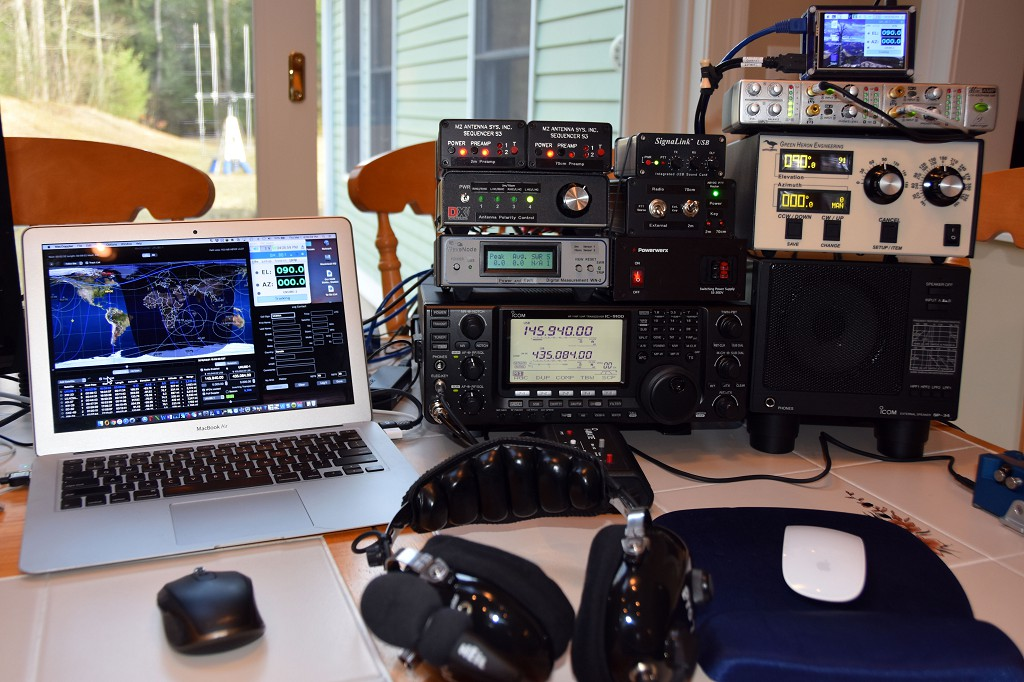 and a picture of the satellite ground station radio, computer controls, and  supporting equipment: