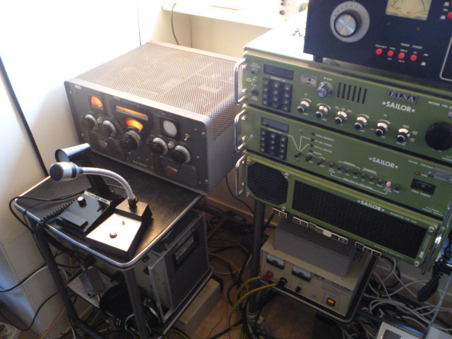 My Central Electronics 100V next to a Sailor R1119 T1130 400w HF station