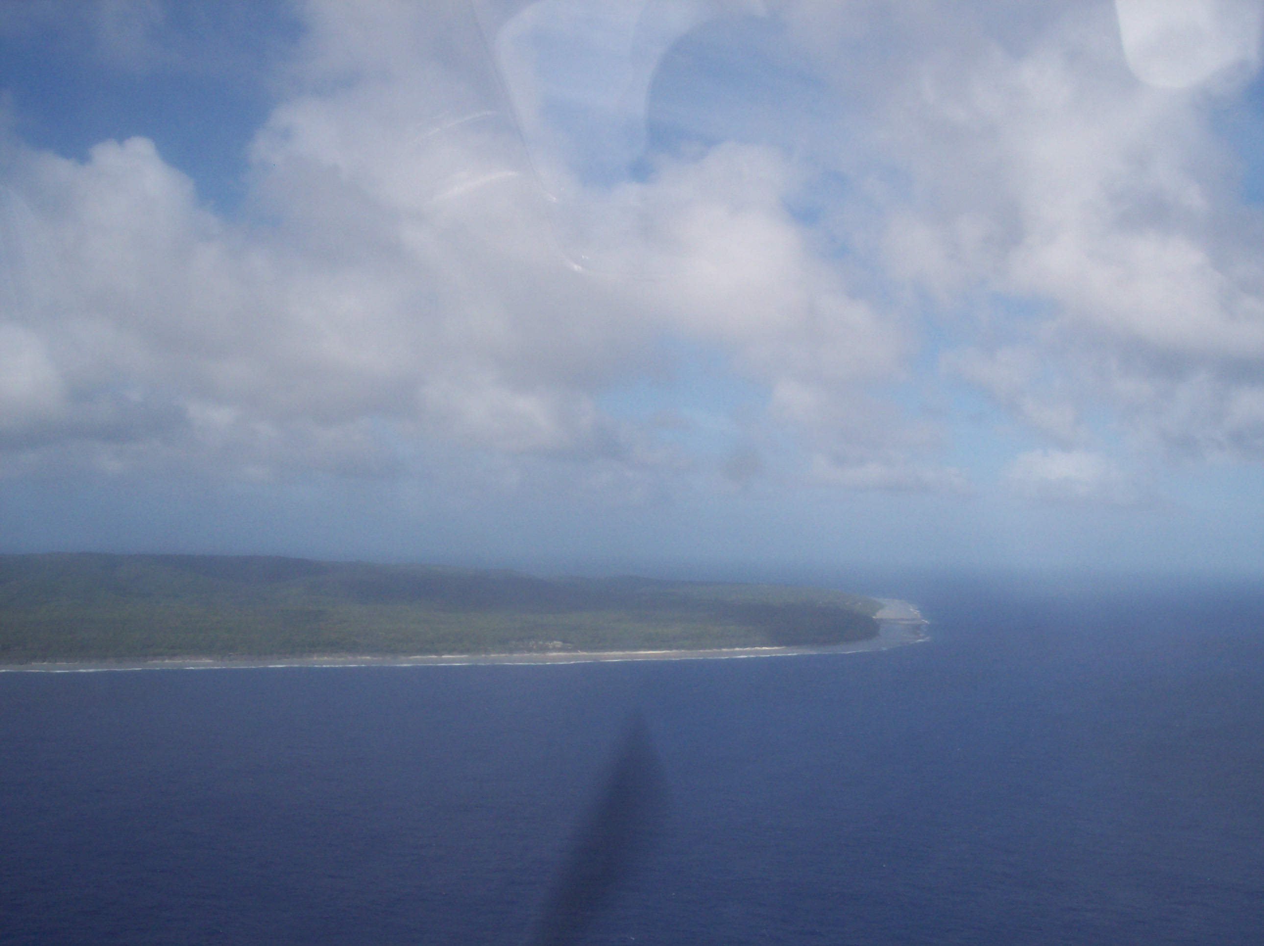 Approaching Mangaia Island from the air