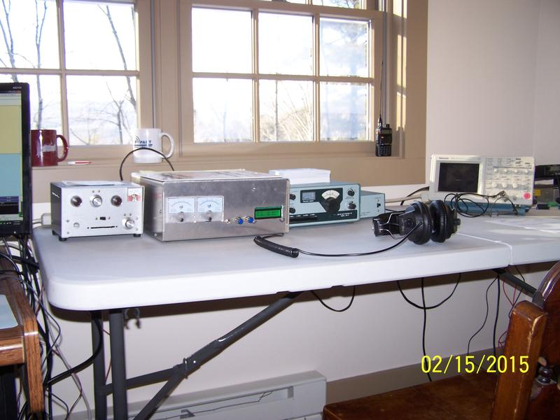 My HW-8 with home brewed antenna tuner, SWR meter, audio filter and frequency counter