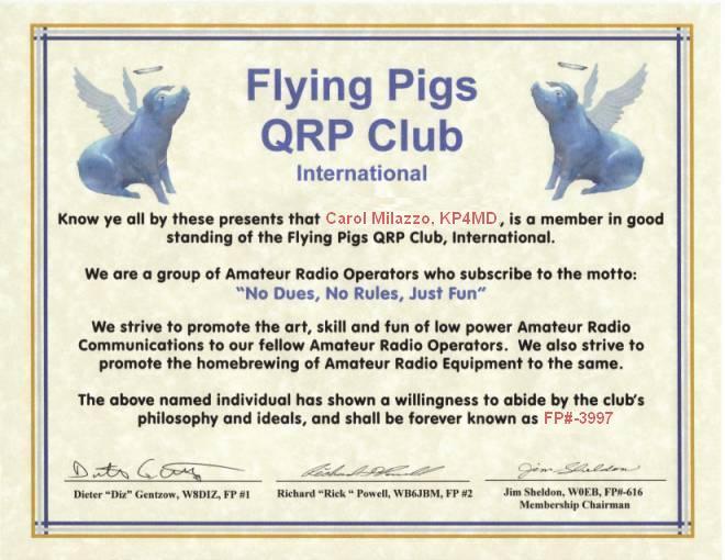 The Flying Pigs QRP Club, International #3997
