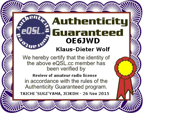 eQSL OE6JWD Zertifikat