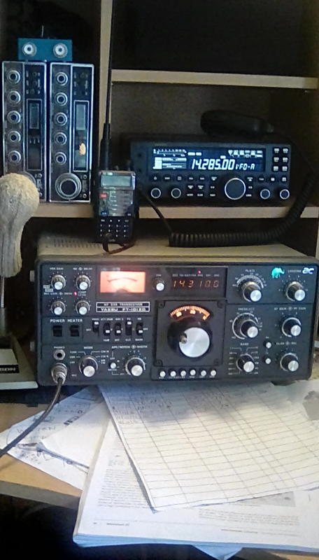 Some of my radios , Yaesu FT101ZD , Yaesu FT450D a pair on stalker 9's and a Baofeng handle .