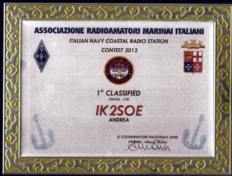 Italian Navy Coastal Radio Stations Contest 2012 Placque