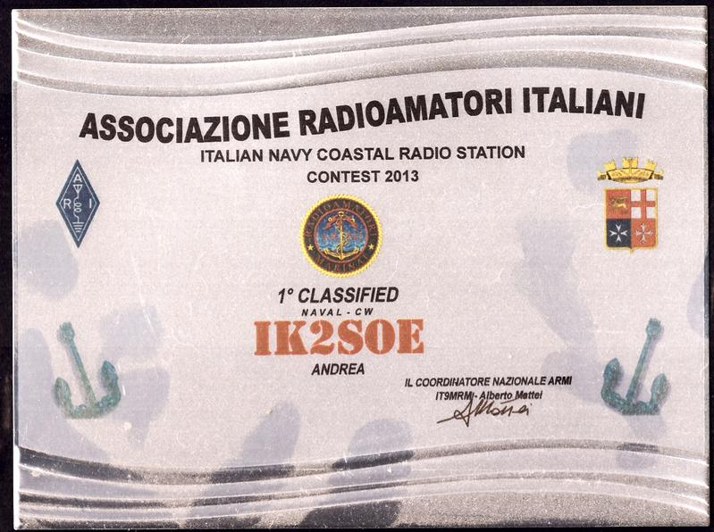 Italian Navy Coastal Radio Stations Contest 2013 Placque