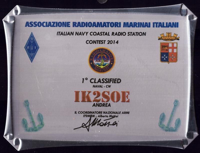 Italian Navy Coastal Radio Stations Contest 2014 Placque