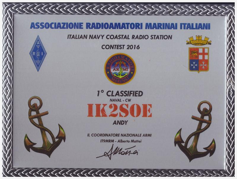 Italian Navy Coastal Radio Stations Contest 2016 Placque