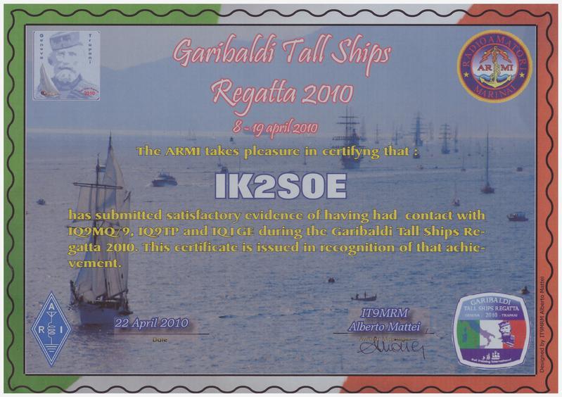 GARIBALDI TALL SHIPS 2010 AWARD
