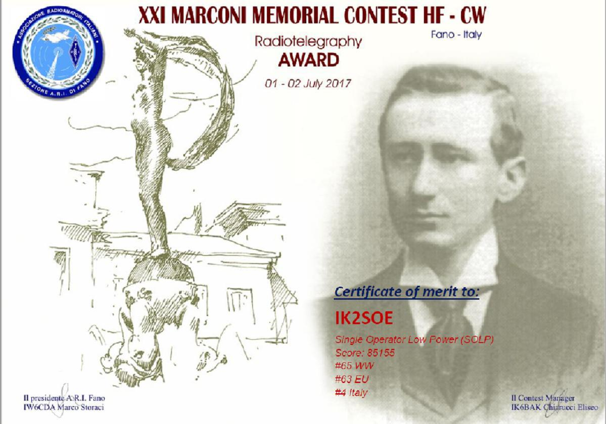 XXI MARCONI MEMORIAL HF CW CONTEST AWARD - 4TH PLACE ITALY