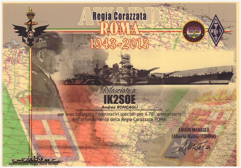 REGIA CORAZZATA ROMA AWARD