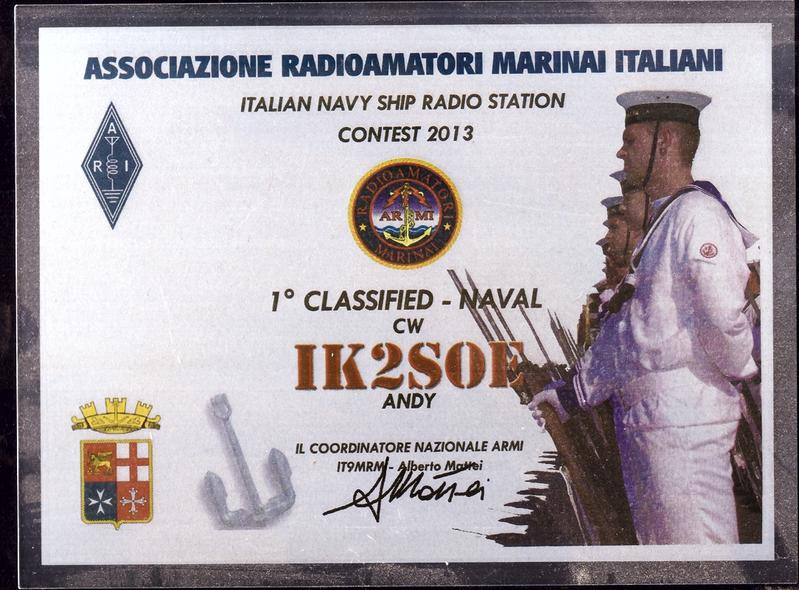 Italian Navy Ships Radio Stations Contest 2014 Placque