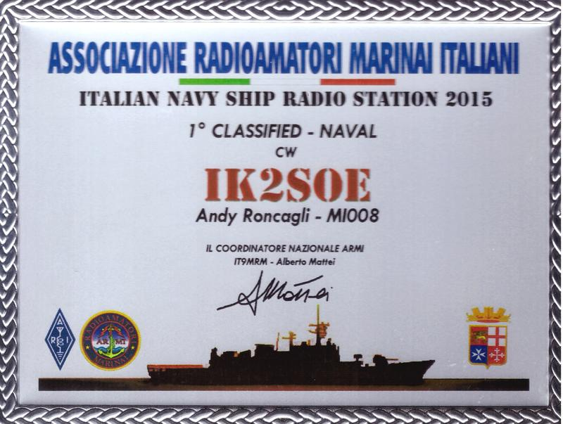 Italian Navy Ships Radio Station Contest 2015 Placque