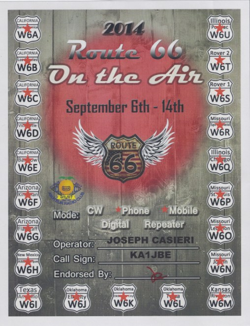 ROUTE 66 CERTIFICATE