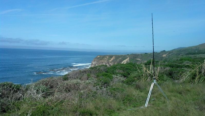 Portable operation on the coast between Davenport and Ano Nuevo. Using deep cycle batteries and an Outbacker antenna