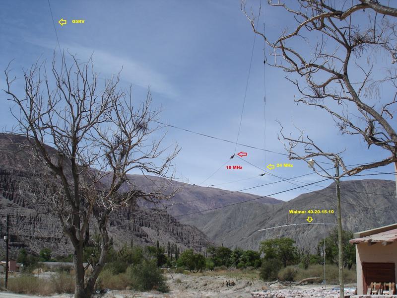 Antenas G5RV, Dipole 7-14, Dip 18, Dip 24, Vertical 28-21-14, Exitado Walamar 40-20-15-10 y Buddipole 50MHz