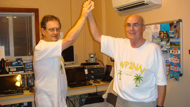 Chet W6XK and Ron celebrate WP2NN RTTY Roundup effort