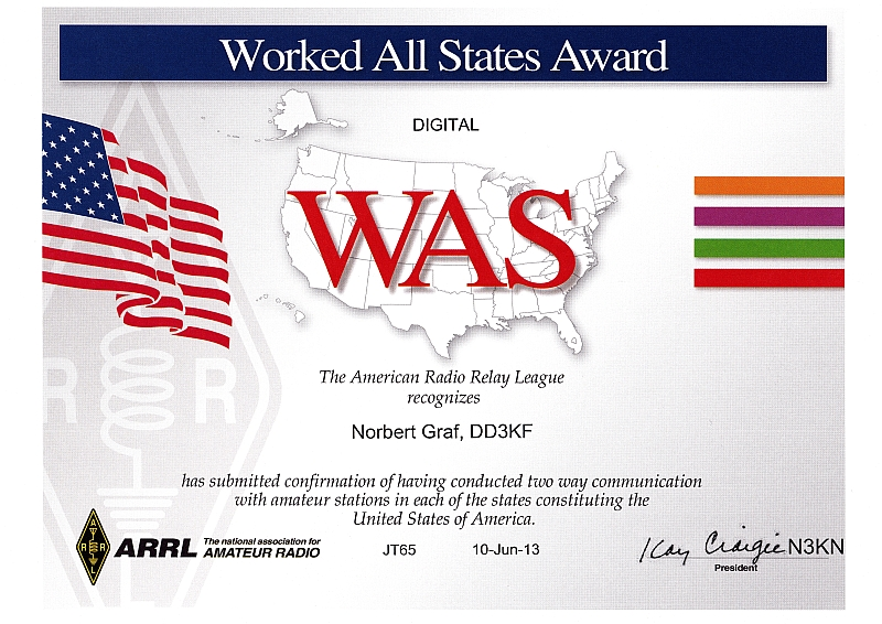 Worked All States - Digital JT 65