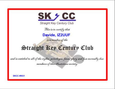 SKCC Certificate