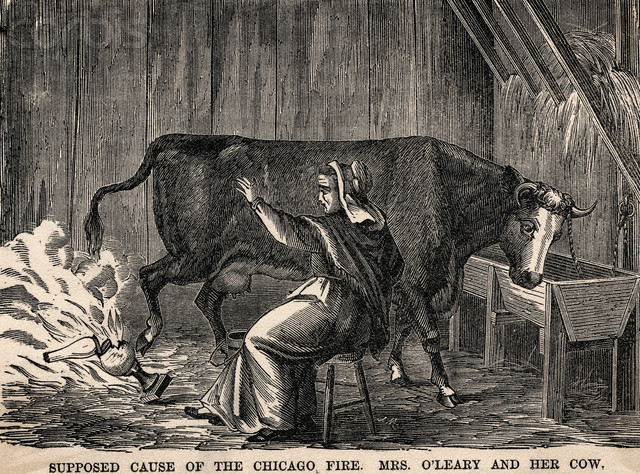 Mrs. O'Leary's cow starts the Great Chicago Fire
