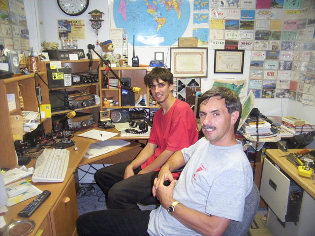 My son Mike, KC9ETU and I taking a break in a VHF contest. Mike is now serving in the USN.