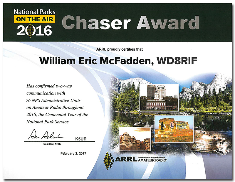 WD8RIF NPOTA Chaser Certificate