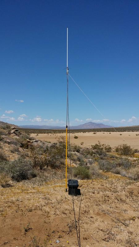 Staying conected with a Kenwood TM-D710A and this Diamond X-50 mounted on a painter's pole in the high desert of California (off of US 395).