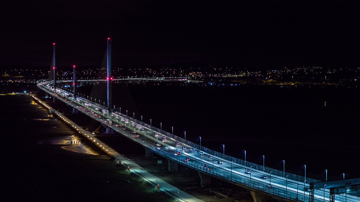 Mersey Gateway bridge across the River Mersey between Runcorn and Widnes opened to traffic just after midnight on Saturday 14th October 2017.