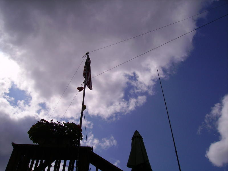flagpole dipoles and vertical off upper deck!
