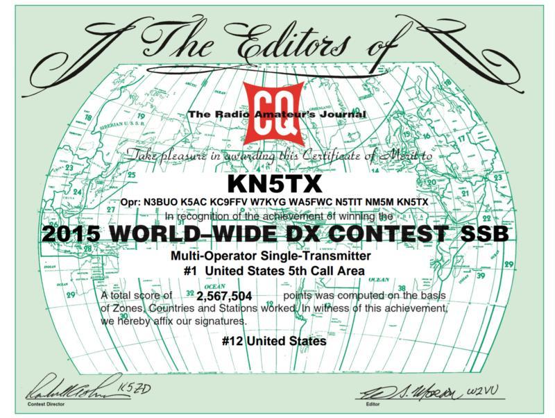 2015 CQ WW DX Award