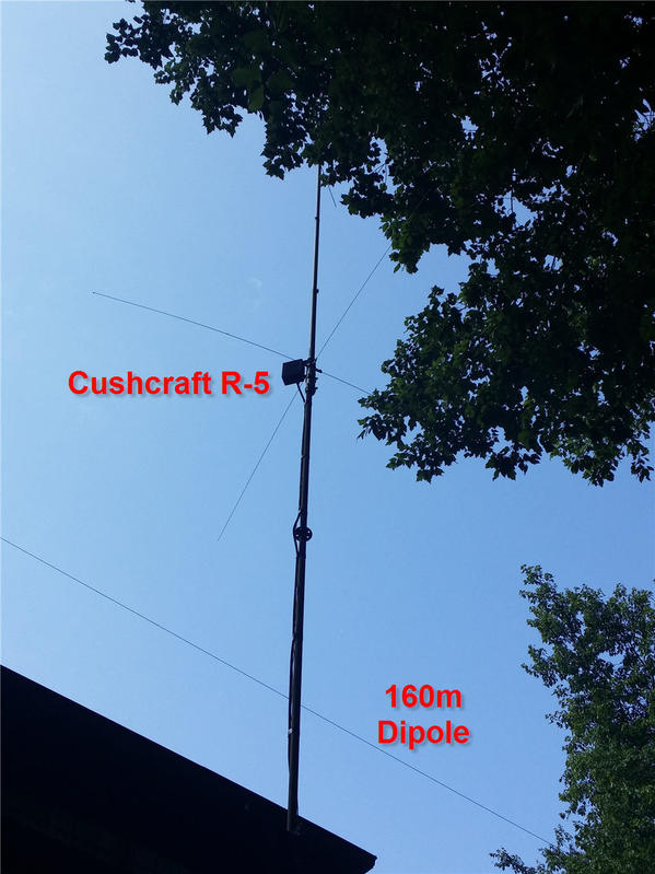 Cushcraft R-5 Vertical and 160m Dipole