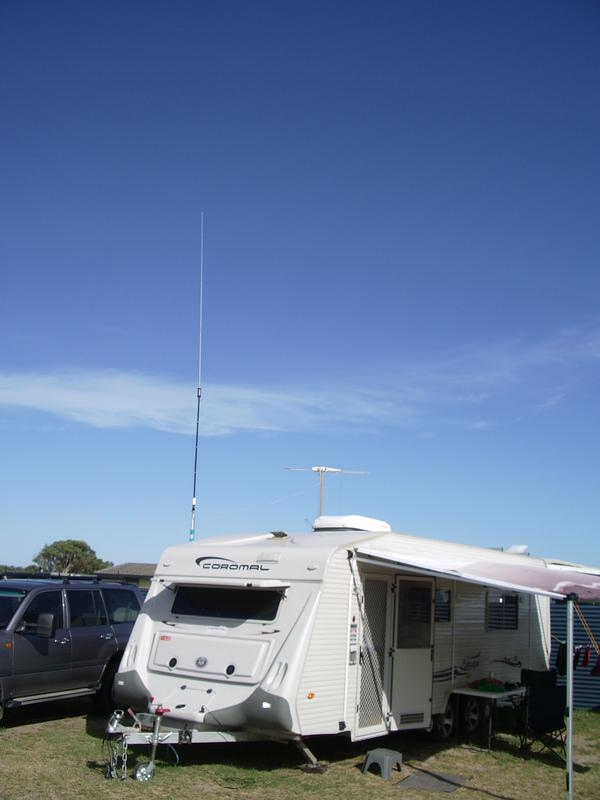 This is my Portable HF & 6 Mtr antenna system on my Caravan set at 2 Mrs high but will telescope to 6 mts high. Ground radial cannot be seen in this photo