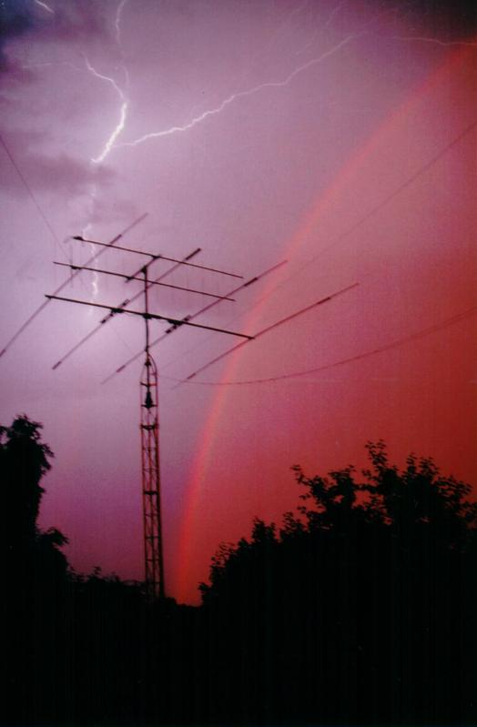 My antenna during thunderstorm with rainbow