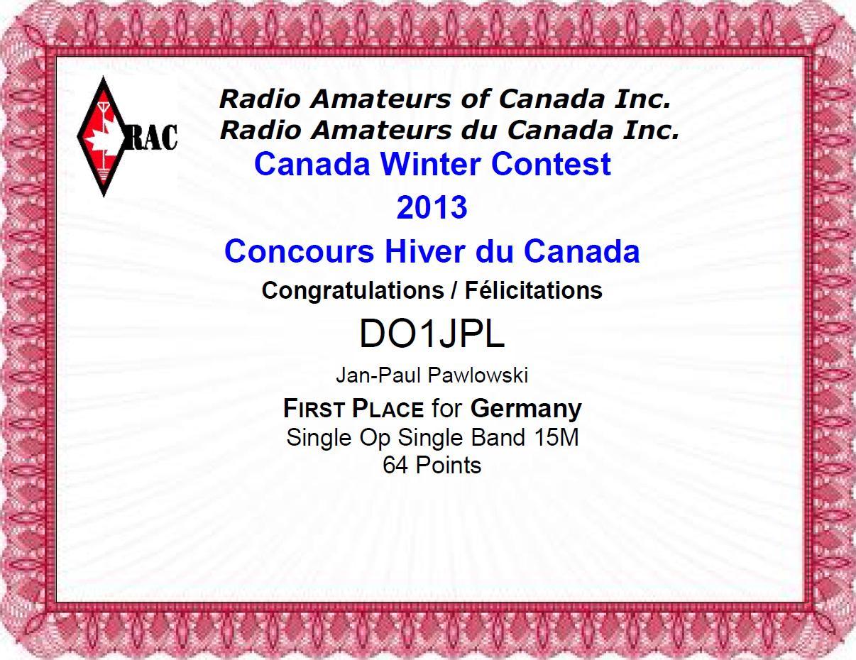 Canada Winter Contest 2013