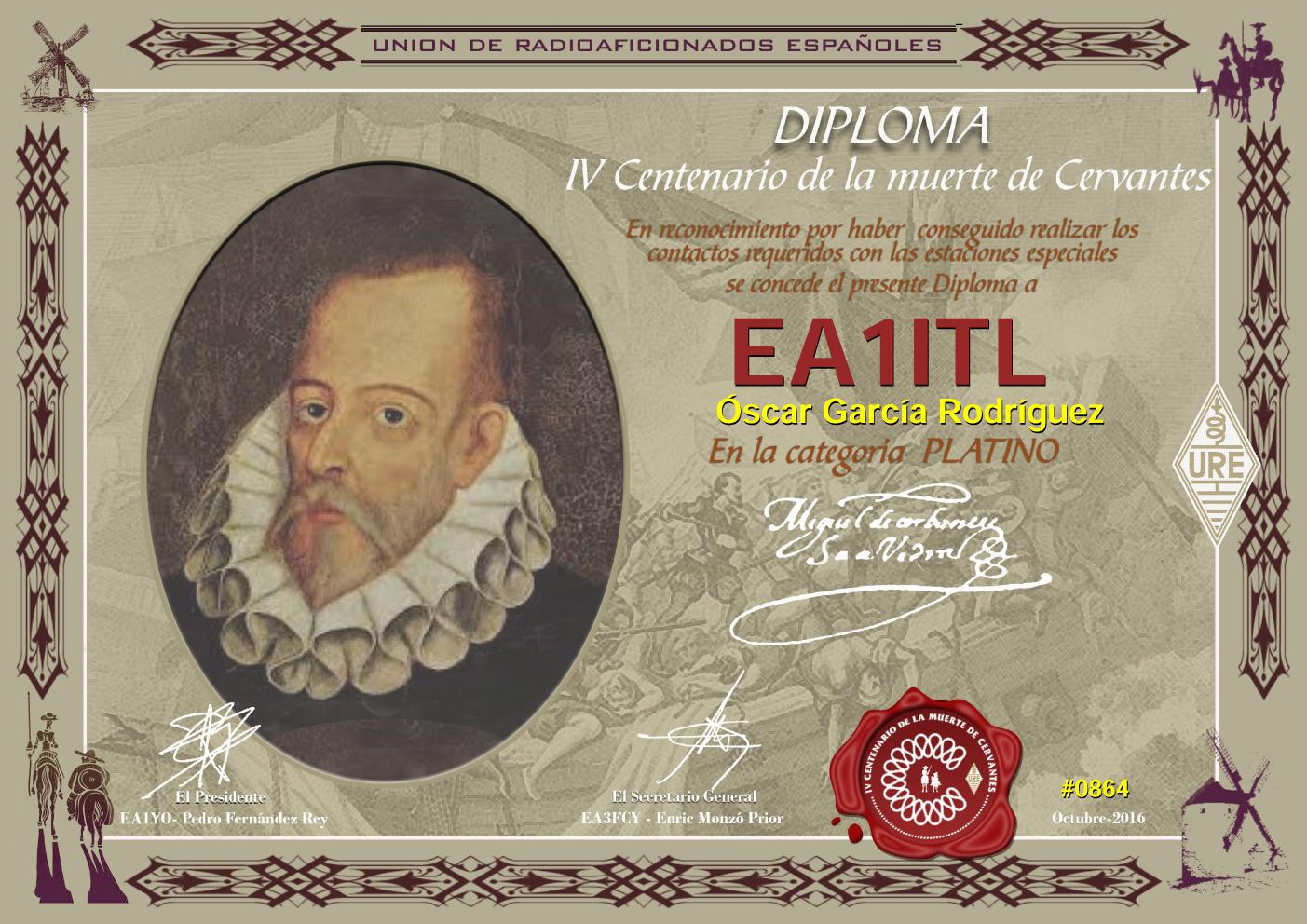 IV Centenario de la muerte de Miguel de Cervantes. Diploma de Platino 2016