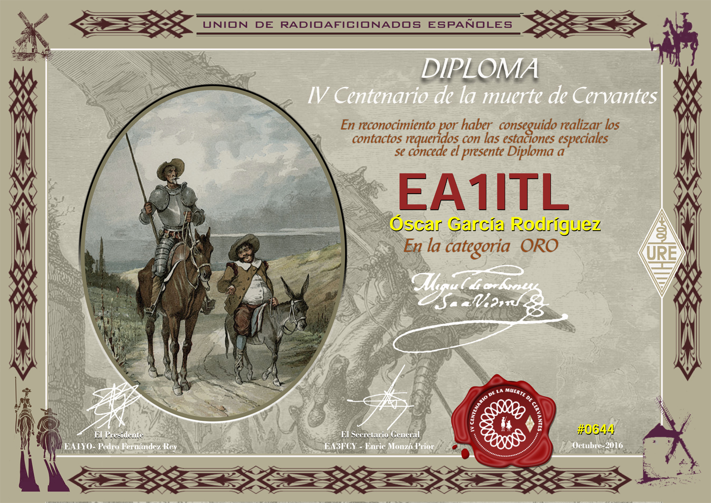 IV Centenario de la muerte de Miguel de Cervantes. Diploma de Oro 2016
