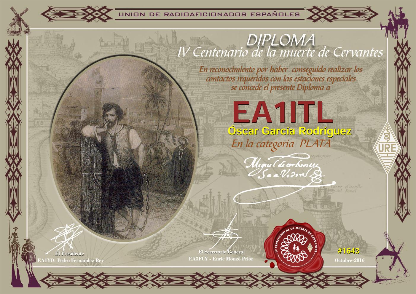 IV Centenario de la muerte de Miguel de Cervantes. Diploma de Plata 2016