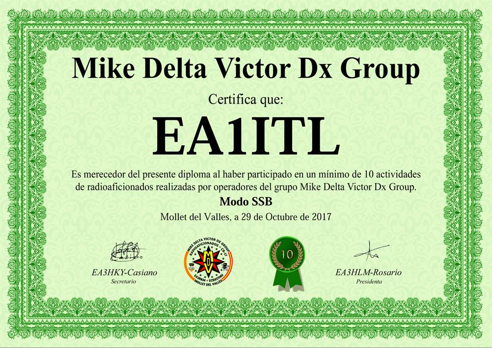 Diploma Mike Delta Victor Dx Group 10 actividades