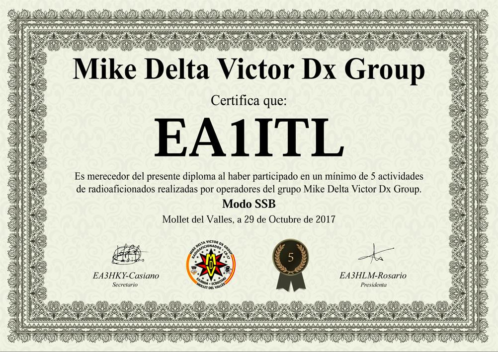 Diploma Mike Delta Victor Dx Group 5 actividades