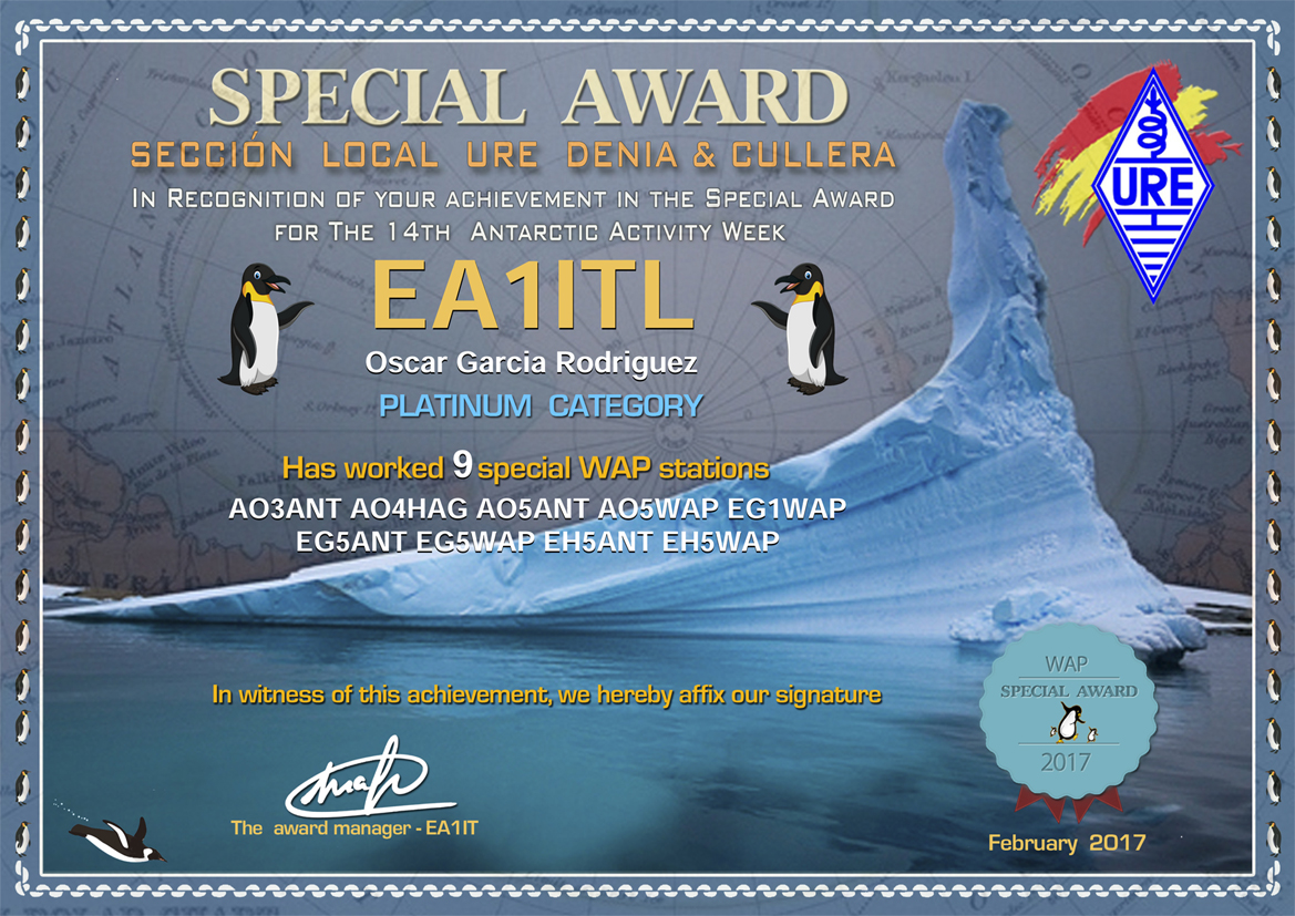 SPECIAL AWARD PLATINUM CATEGORY 14TH ANTARCTIC ACTIVITY WEEK