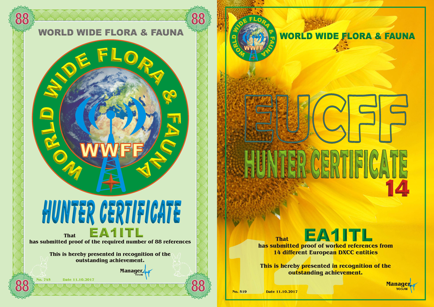 Diplomas WWFF HU 88 EUCFF14