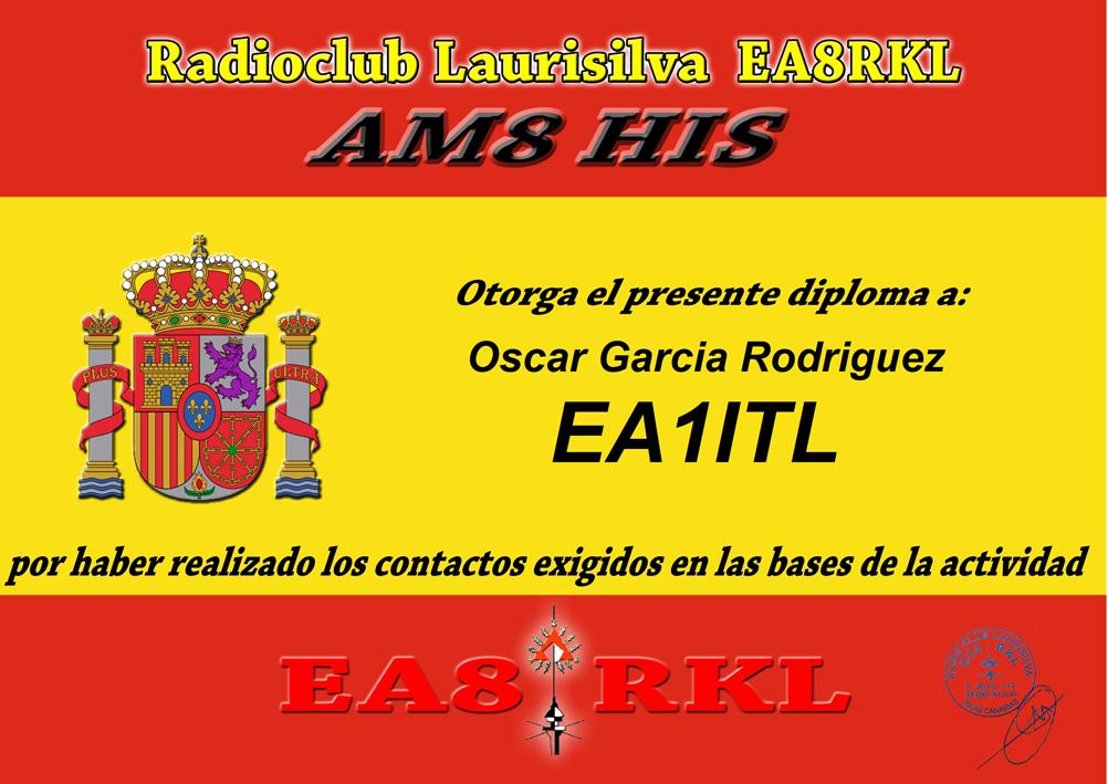 Diploma DÍA DE ESPAÑA 4 Contactos en 4 bandas diferentes