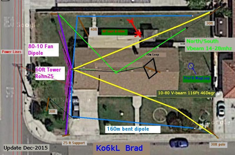 overhead view of the .33 ac city lot and the antenna farm. note power lines on left side.