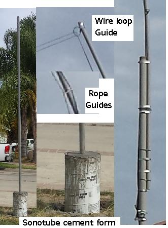 pole construction project to support the wire antenna higher for better low band hf signals DX