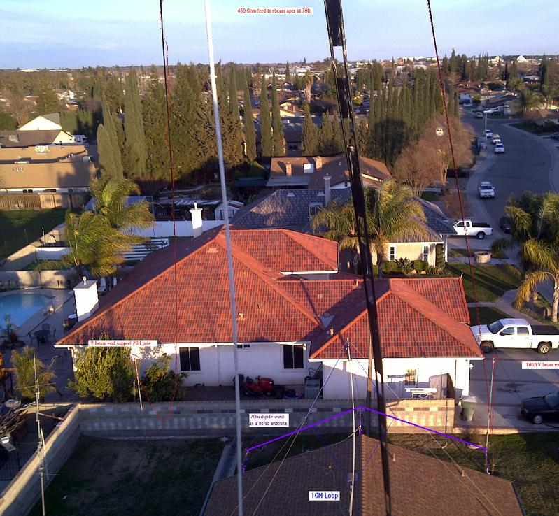 up 70ft a 40m-6m V-Beam wire antenna far ends drop to 20 foot fiberglass poles