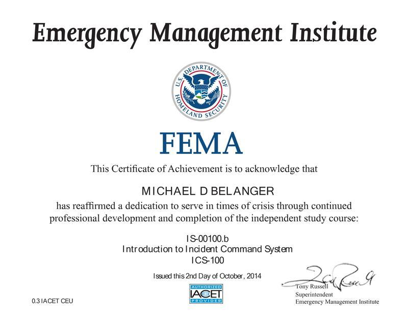fema certificate qrz 100b cerificate ham radio