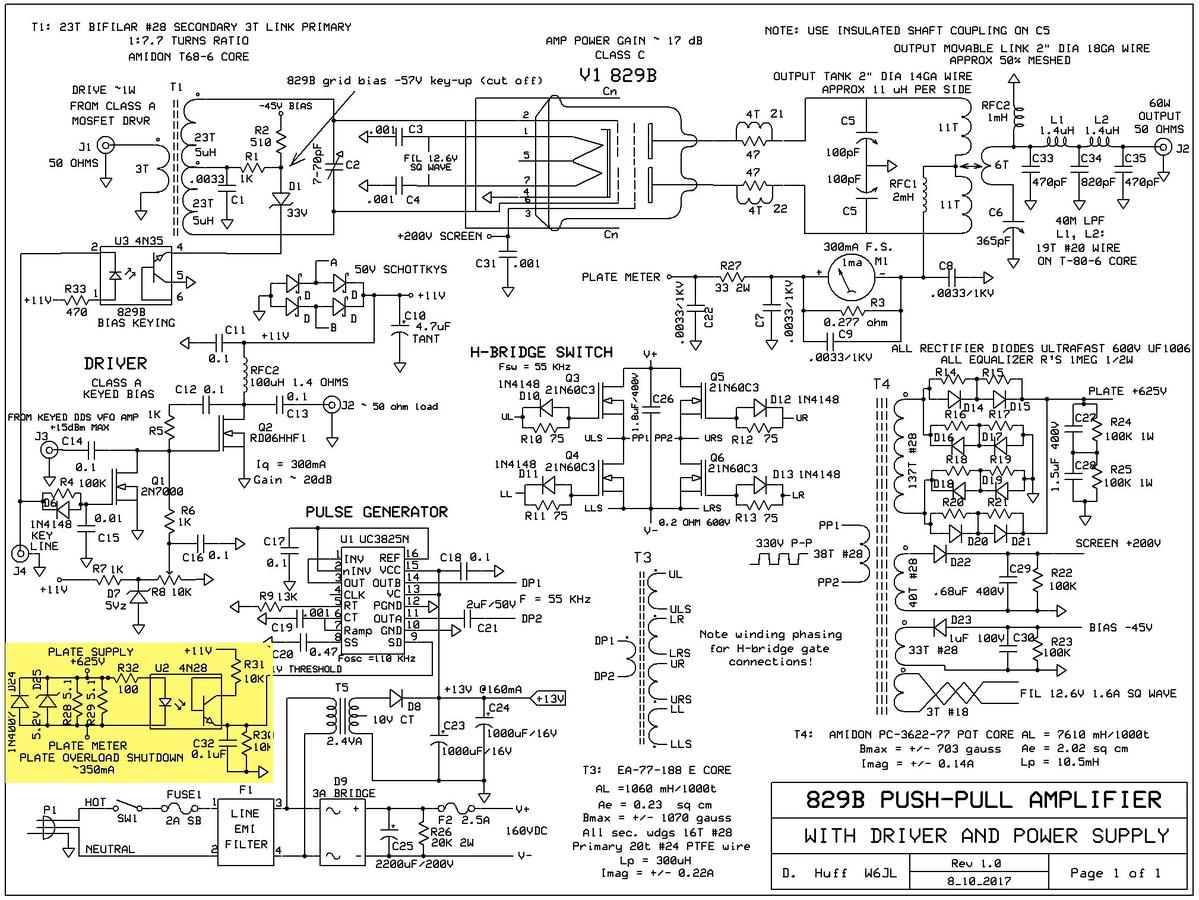 7_829B_AMP_AND_DRIVER_AND_PS_sch w6jl callsign lookup by qrz ham radio Basic Electrical Wiring Diagrams at crackthecode.co