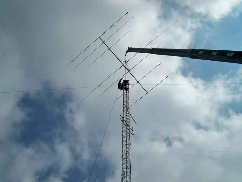 Me installing the Mosley Pro 57 Beam Antenna
